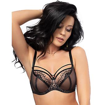 Gorsenia K496 Women's Paradise Black Lace Non-Padded Underwired Full Cup Bra