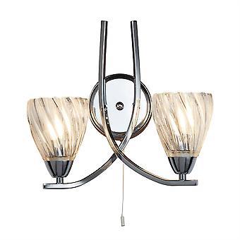 Ascona Ii krom og Glass dobbelt vegg Light - søkelys 5272-2CC