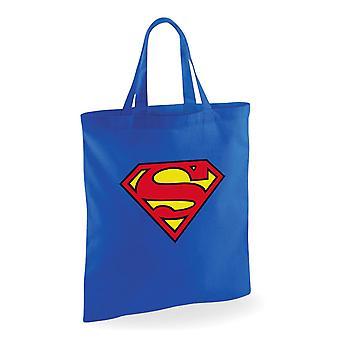 Superman stof taske trykt logo blå, 100% bomuld.