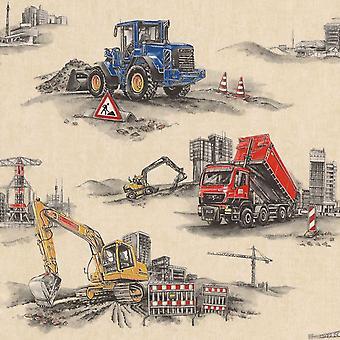 Transport Construction Digger Trucks Wallpaper Kids Boys Children's Beige