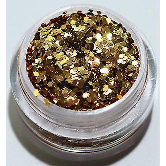 Negleglimmer - Sekskant - Gyldenbrun - 8 ml - Glitter