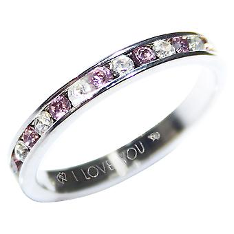 Ah! Jewellery I Love You Engraving Light Amethyst & Clear CZ Full Eternity Ring Band