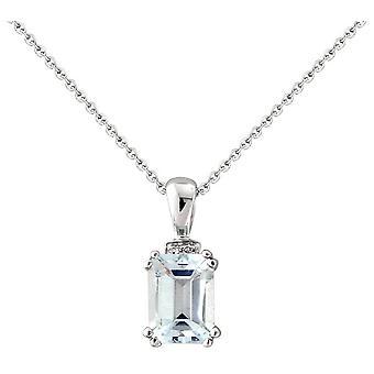 Mark Milton Diamond and Aquamarine Pendant - Light Blue/Silver