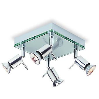 Firstlight-4 licht vierkante flush Light aluminium, helder glas-5514AL
