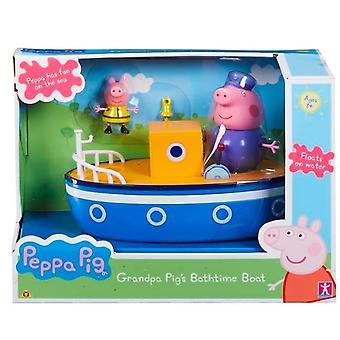 Peppa Pig Opa Pigs Bath Time Boat mit abnehmbaren Artikelfiguren