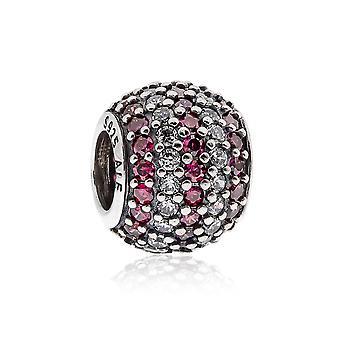Pandora Streifen Pflaster Silber, klar & rot CZ Charme 791172CZR