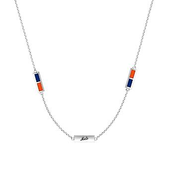 New York Mets Sterling Silver Engraved Triple Station Necklace In Blue & Orange