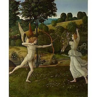 The Combat of Love and Chastity,GHERARDO DI GIOVANNI,42.5x34.9cm