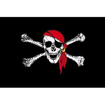 5 x 3 stóp flaga - Pirate - czerwonym szalikiem