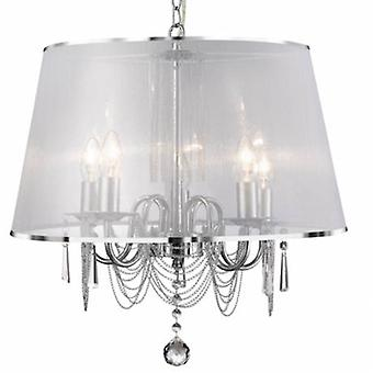 5 Light Multi Arm Ceiling Pendant Chrome, Crystals With Shade