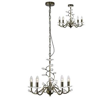 Diyas Willow Pendant Without Shade  5 Light Antique Brass/Crystal