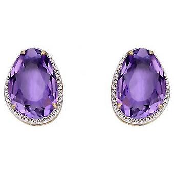 Elements Gold Organic Shaped Stud Earrings - Purple/Silver