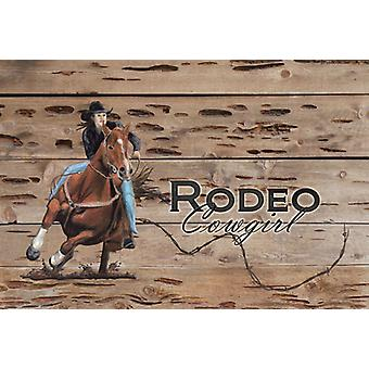Carolines Schätze SB3055PLMT Rodeo Cowgirl Fass Racer Stoff Placemat