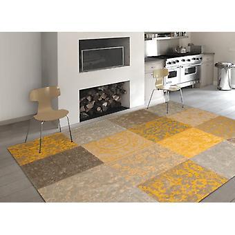 Vintage 8084 - gele Beige A mix van geel, beige en grijze rechthoek tapijten moderne tapijten