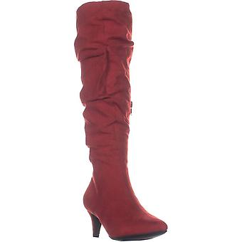 B35 Edina Pointed Toe Zip Up Mid Calf Boots, Red