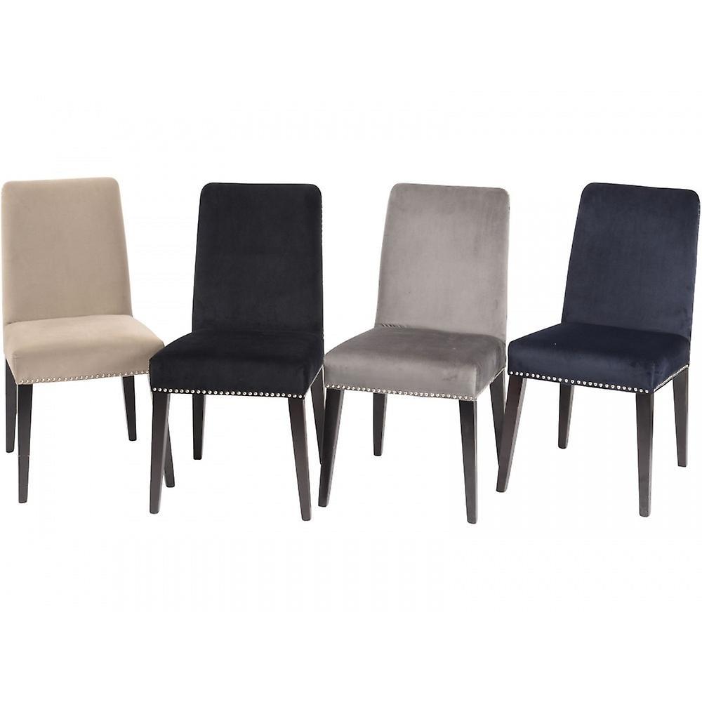 Libra Furniture Navy Velvet Dining Chair With Dark Birchwood Legs