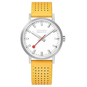 Mondaine Classic Yellow Leather Strap Men's Watch A660.30360.16SBE 40mm