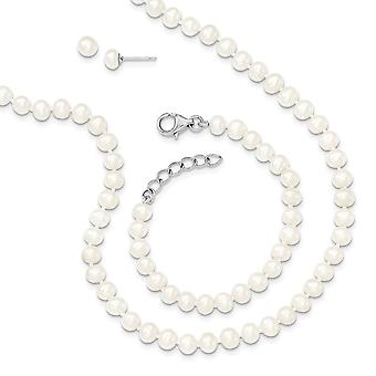 925 Sterling Silver 4 5mm Freshwater Cultured Pearl 14/1inch Neck 5/1in Bracelet Earrings Set Jewelry Gifts for Women