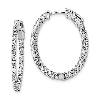 925 Sterling Silver Polished Prong set Hinged hoop Safety clasp Rhodium Plated With CZ Cubic Zirconia Simulated Diamond