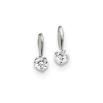 925 Sterling Sølv Solid Polert Innlegg Øredobber CZ Kubikk Zirconia Simulert Diamant Øredobber Mål 11x4mm Bred Juvel