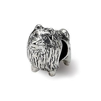 925 sterling sølv poleret antik finish refleksioner Pomeranian perle charme