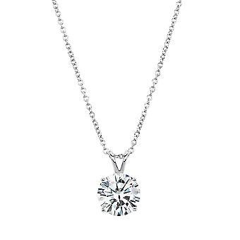 14K White Gold Forever Brilliant 11mm Round Moissanite Necklace, 4.75ct DEW
