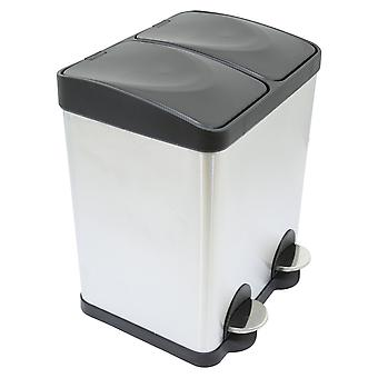 Charles Bentley 30L Stainless Steel Kitchen Recycle Pedal Bin 2 Compartment