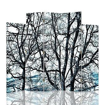 Dekorativa rumsavdelare, 5 paneler, dubbelsidig, canvas, grenar av träd 1
