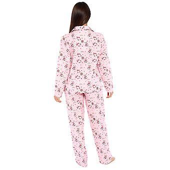 Naisten 100% harjattu Puuvilla Lumiukko Pyjama Lounge Setti - Pinkki - Xl-Xxl