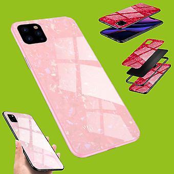 Für Apple iPhone 11 Pro 5.8 Zoll Color LUXUS Effekt Glas Handy Cover Pink Tasche Etuis Hülle Neu