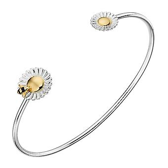 Elements Silver Sterling Silver Bee Flower Torque Bangle B5220