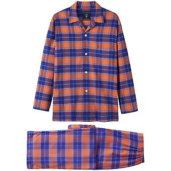 British Boxers Tangerine Dream Two Fold Flannel Pyjama Set - Orange/Blue