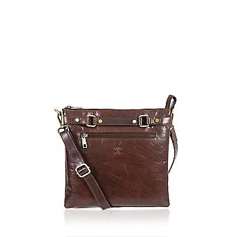 Bowland Front Zip Leather Cross Body Bag in Brown