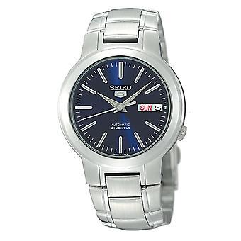 Seiko 5 automatische blaues Zifferblatt Edelstahl Herren Uhr SNKA05K1