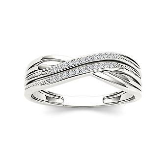 Igi certified 10k white gold 0.05 ct natural diamond fashion anniversary ring