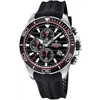 Originale F20370-6 Festina Watch - Uhr Mann schwarz Harz Armband schwarzes Zifferblatt Stahl