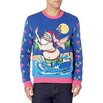Blizzard Bay Men's Ugly Christmas Sweater Santa, Pink, X-Large