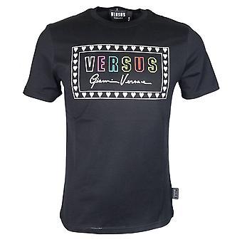 Versace Round Neck Slim Fit Printed Multicoloured Logo Black T-shirt