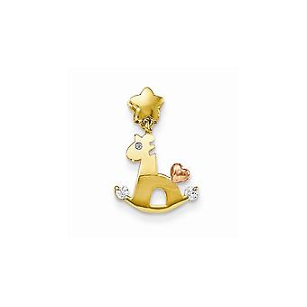 14k Yellow and Rose Gold CZ Cubic Zirconia Simulated Diamond for boys or girls Rocky Horse Pendant Necklace