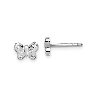 925 Sterling Silver Rhodium plated for boys or girls CZ Cubic Zirconia Simulated Diamond Butterfly Angel Wings Post Earr