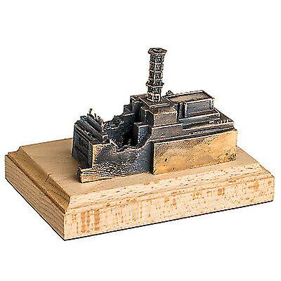 The Chernobyl Nuclear Power Plant Bronze Miniature Statue on Wooden Plinth