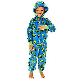 Minecraft Creeper Onesie Boys | Bambini Blue Creeper All In One PJs | Pigiama con cappuccio a maniche lunghe per bambini