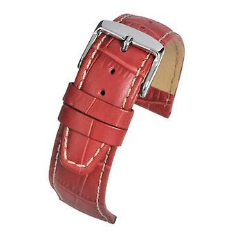 التماسيح الحبوب ووتش حزام جلد nubuck الأحمر