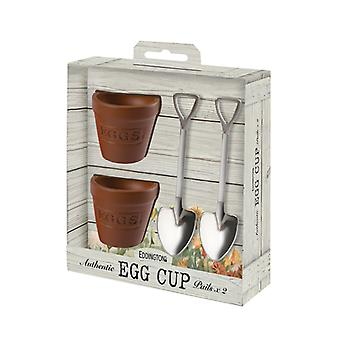 Eddingtons Flower Pot Eierbecher und Löffel 2er Set