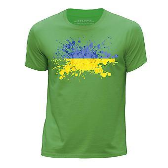 STUFF4 Boy's Round Neck T-Shirt/Ukraine/Ukrainian Flag Splat/Green