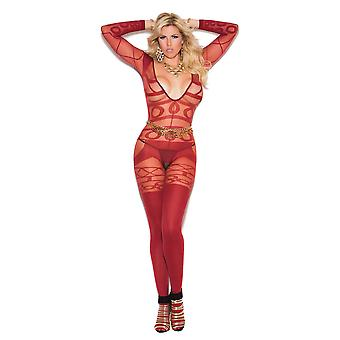 Womens Plus Size Long Sleeve Sheer Crotchless Bodystocking Bodysuit Lingerie