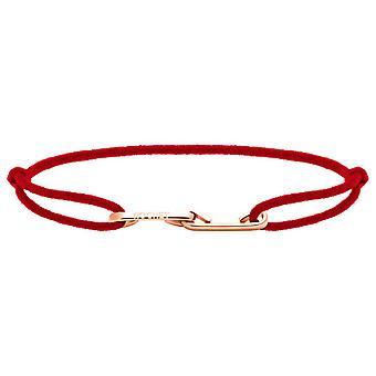 Pulsera Rochet B216905 - LOVE PVD Rose con Cordon Rouge R glable Femme