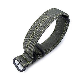 Strapcode n.a.t.o watch strap miltat 20mm or 22mm washed canvas zulu military green double thickness watch strap, lockstitch hole, green stitches, pvd