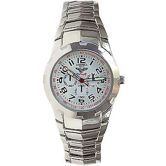 America Sports Chrono Style White Dial Bracelet Strap Mens Dress Watch