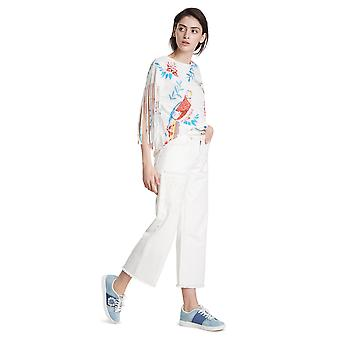 Desigual Women's White Lovebirds Tshirt with Bright Tropical Birds & Fringed Sleeves